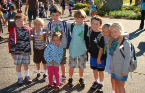 1st Day of Kindergarten (2012). (L to R) Kyle, John, Patrick, Cooper, Andrew, Maddie, Grace and Clara.