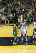 John and Dad at Celtics Grizzlies Game 110413